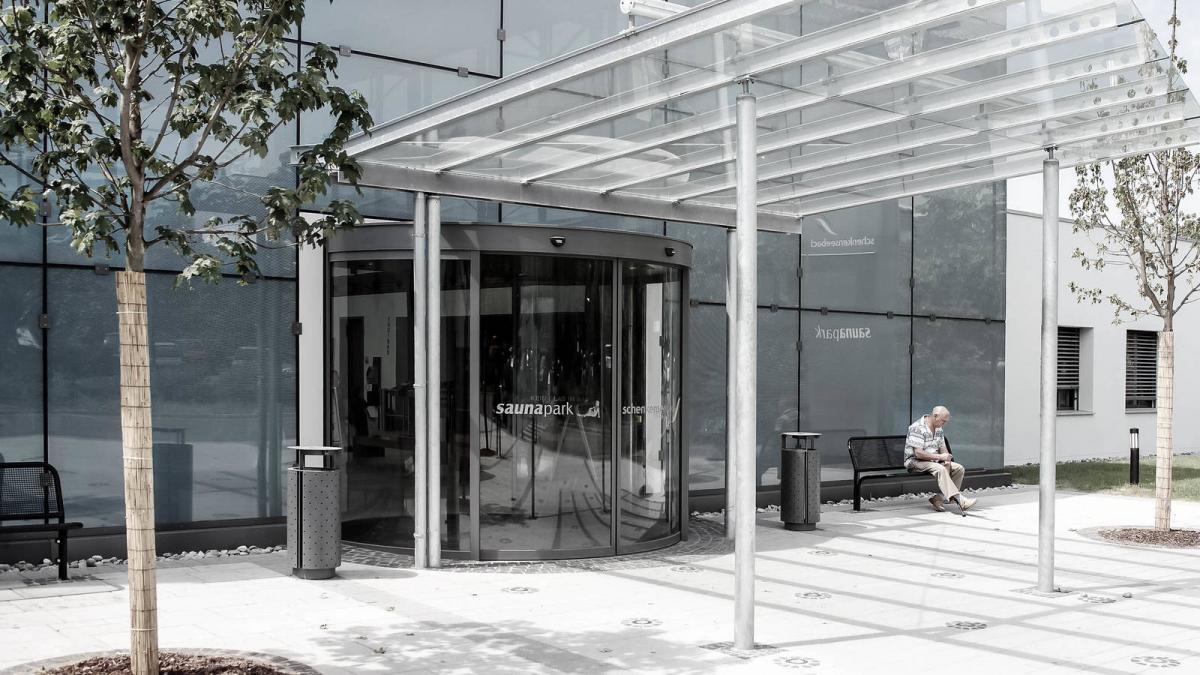 Pintu Otomatis Mall 360° Curved Sliding Door