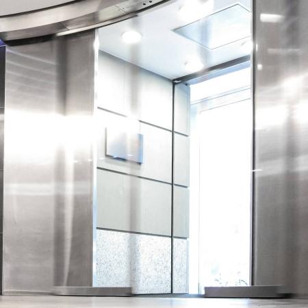 Pintu Otomatis Gedung Perkantoran Model Curved Sliding Door
